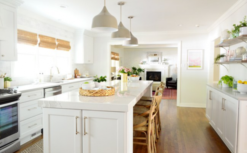 Why Young House Love DIYers Chose Custom Cabinetry and Cambria Countertops for Their White Kitchen